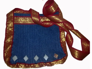 Denim Sling Sling bag with mirrors and traditional Indian borders
