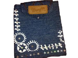 Denim Sling bag with hand painted Indian Motifs