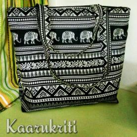 The very chick Elephant Block print black and white Tote