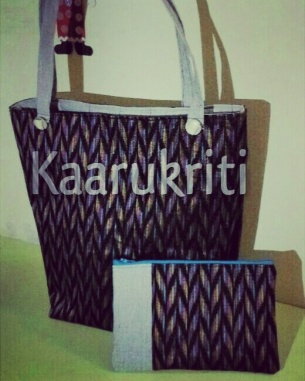 Ikat Tote and Coordinated Cosmetic Pouch