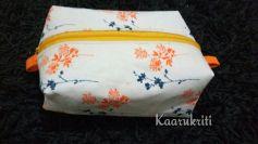 Orange Floral Box Pouch
