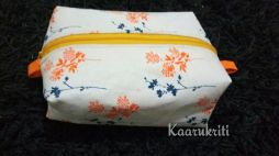 Orange Floral Box Pouch