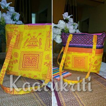 Yellow Warli Shoulder Tote
